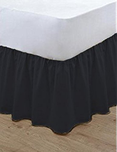 Bluemoon Bedding® Plain Dyed Poly Cotton Soft Frilled Base Valance Sheets Bed Sheets Covers All Sizes (King, Black)