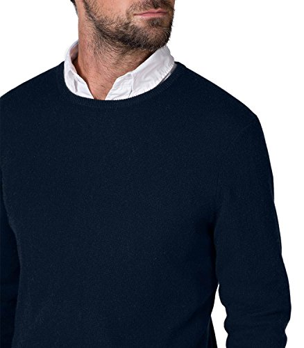 WoolOvers Pull à col rond - Homme - Pur cachemire Navy