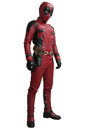 Pandacos Deadpool Kostüm Cosplay Costume Deluxe Outfit Unisex aus Leder Kostüm 5er Set Film Zubehör für Karneval, Fasching und Halloween Tops + Hosen + Handschuhe + Gürtel + Latexmaske (Kostüm Deadpool Womens)