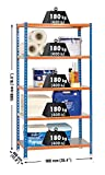 SimonRack SI402 Kit Estantería con 5 Estantes, AZUL/NARANJA/GALVA, 1800 x 900 x 400 mm