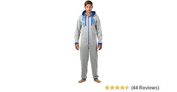 Onezee Mens American City Printed Jumpsuit Hooded Microfleece Nightwear Pyjama