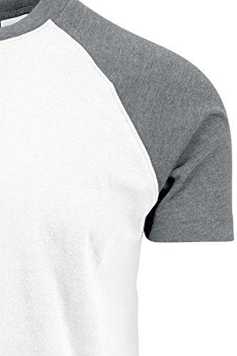 Urban Classics TB639 Herren T-Shirt Raglan Contrast Tee Mehrfarbig (White/Grey 00230)