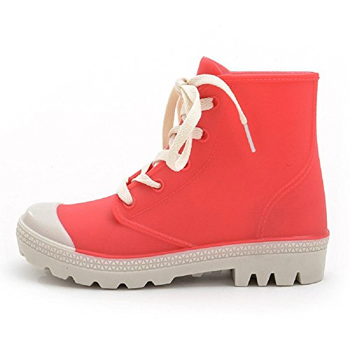 Mode Frauen Regenstiefel Wasserdicht Spitzen-Up einstellbar Frauen Ankle-Boots Gummischuhe , red , 40 (Hunter Frauen Kurze Regen Stiefel)