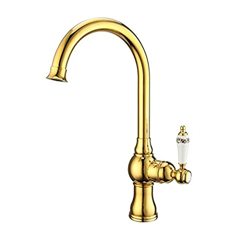 Blonde European copper kitchen sink hot and cold faucet
