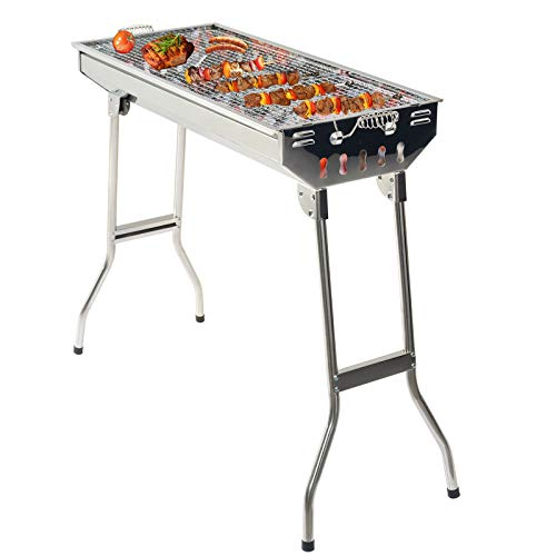 4147jG4brKL. SS500  - Grandma Shark Stainless Steel Carbon Grill, Portable Foldable Outdoor Barbecue Grill, Suitable for 5-10 People BBQ Party