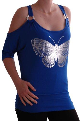 EyeCatch - Marisa Épaule Off Graphique Motif Papillon Aux Femmes Tops Royal Bleu