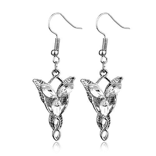 Herr der Ringe Arwens Abendstern Replik Ohrringe versilbert + Geschenkbeutel NS 500896 (Ohrringe Replik)