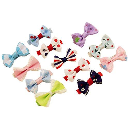 Vococal® 12Pcs Mini Noeud Papillon en Forme d'Épingle à Cheveux Clip Barrette Épingle à Cheveux Enfant Cheveux Accessoires Couleur Assortie
