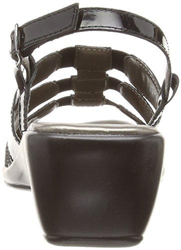 Lotus Lantic, Sandales Compensées  Femme Noir (Black Patent Leather/Print)