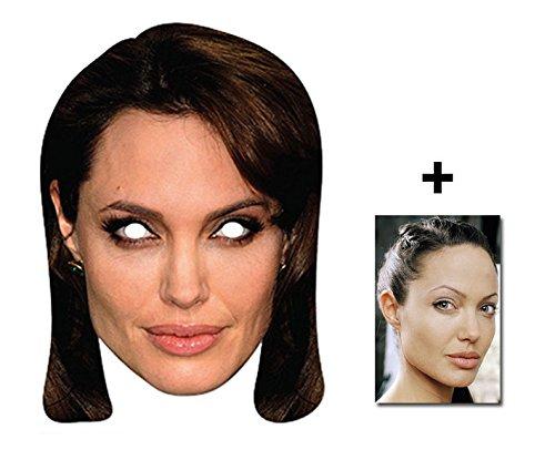 Angelina Jolie berühmtheit Single Karte Partei Gesichtsmasken (Maske) Enthält 6X4 (15X10Cm) starfoto (Brad Pitt Kostüm)