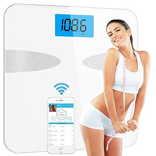 Smart bilancia pesapersone digitale,yeco bluetooth bilancia digitale da bagno, grasso corporeo bilancia con app per ios e android,misura 8 parametri corporei,utenti illimitati, miglior regalo 182.5kg