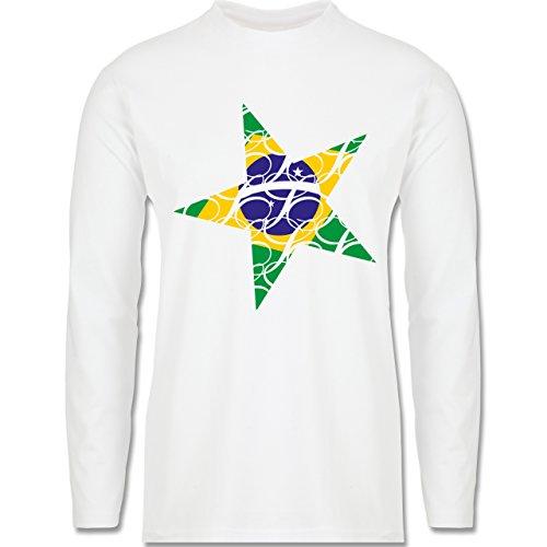 Länder - Brasilien Stern - Longsleeve / langärmeliges T-Shirt für Herren Weiß
