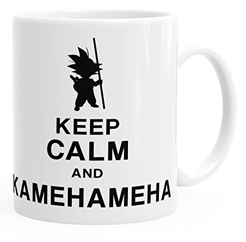 MoonWorks Son Goku Tasse Keep Calm and Kamehameha Dragon Ball Einfarbig weiß Unisize