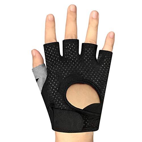 CLYGSHT Fitness-Handschuhe Für Männer Frauen Kurzhantel-Ausrüstung Reck-Handgelenk-Trainings-Halbfinger-Rutschfeste Handschuhe, Schwarz, Multi-Size Optional (größe : L)