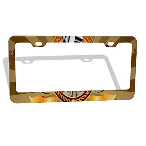 FunnyCustom License Plate Frame Vintage Retro Music Theme Musical Microphone Creative Aluminum License Plate Set Metal Tag Holder 12 x 6 Inch 2 Packs