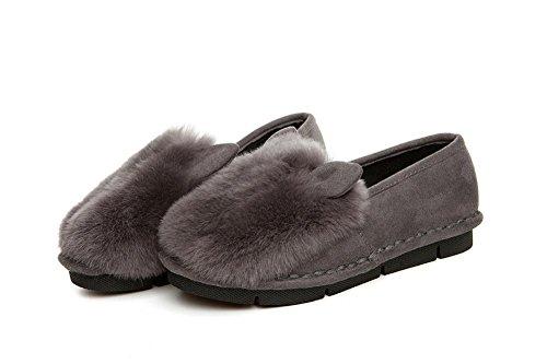 YYH Confortables appartements mocassins féminines en cuir chaussures de haricot de fourrure lapin gray