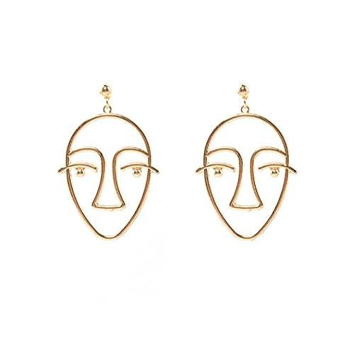 Sunyoyo Women Fashion Charm Dangle Drop Earrings Face Design Gold Chain Jewelry Gift (Gold)