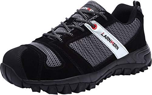 LARNMERN Sicherheitsschuhe Herren,LM-18 Arbeitsschuhe Stahlkappe Stahlsohle Anti-Rutsch Industrie und BAU Schuhe Atmungsaktiv Komfortabel (46 EU, Schwarzes Mesh)