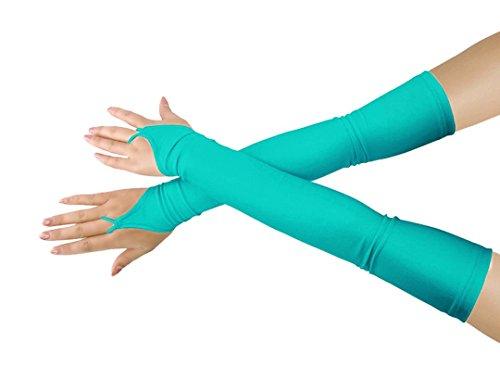 Mädchen 'Boys' Erwachsene Halloween Make-Up Fingerlose Über Elbow Cosplay Kostüm Handschuhe (mint blue)