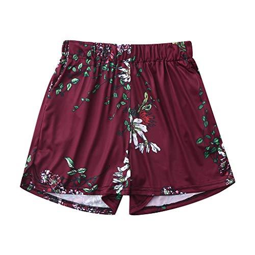 WOZOW Shorts Kurze Hose Damen Boho Hawaii Floral Blumenmuster Flowers Muster Print Druck Pyjama Trousers Lose Loose High Waist Mode Bequem A Line Mini Hosen Summer (S,Wein)
