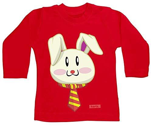 HARIZ Baby Shirt Langarm Osterhase Sonnenbrille Tiere Zoo Inkl. Geschenk Karte Feuerwehr Rot 6-12 Monate