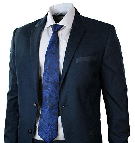 Hommes Suit équipée Bleu marine Garniture Blazer pantalons Smart Office de soirée de mariage de bal Marine