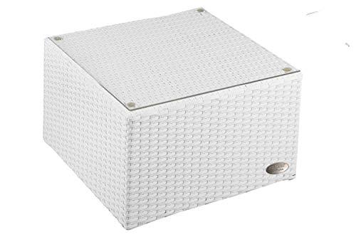 Table d'appoint en alu avec plaque en plexiglas, 4 x pieds ajustables (usable comme tabouret (90 kg) sans plaque en plexiglas) pour combinaison avec chaise longue en rotin, salon en poly-rotin d'une très bonne qualité, matériau : aluminium avec des bandes intégrées pour une assise confortable.