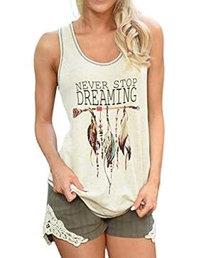 Camiseta de tirantes para mujer,VENMO Mujeres plumas sin mangas camisas blusa casual Tank Tops camiseta (blanco...