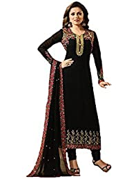 FKART Women's Silk & Georgette Semi-Stitched Salwar Suit With Dupatta (BLACK__Free Size)
