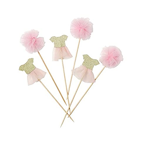 Talking Tables We Heart Pink Pom Pom & Tutu Cake Toppers for any Childrens Party, Pink/Gold (12