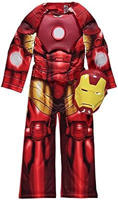 Disfraz de Iron Man (talla para 3-4 años, disfraz acolchado con reactor Arc y máscara)