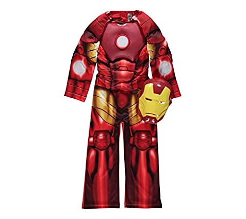 Marvel Avengers Iron Man fancy dress 7-8yrs Padded Muscle Costume with Light-Up Reactor Arc & Mask By Rubies for George …