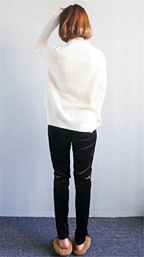JOTHIN 2017 Donna Inverno Corea Tinta Unita Bowknot Maglia Jumpsuit Ispessimento Elasticizzati Giuntura Basic Maglioni Girocollo Manica lunga Studente larghi Maglieria Bianco
