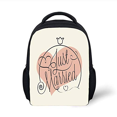 Wedding Decorations,Stylized Hand Writing of Just Married on Pink Heart Tulip Flower,Coral Black White Plain Bookbag Travel Daypack ()