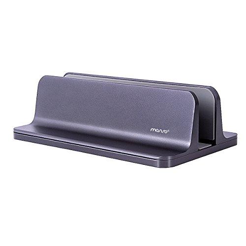 MOSISO Vertikaler Laptop Ständer, Aluminium Legierungs Schreibtisch Halter Standplatz Kompatibel iPad Pro/MacBook Air/MacBook Pro/Surface Pro und anderes Laptop Notizbuch, Space Grau