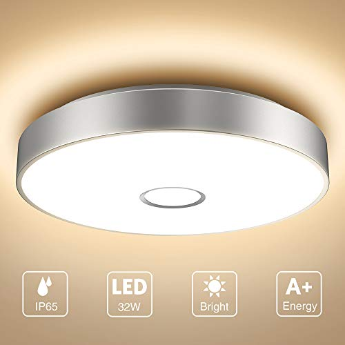 Onforu 32W LED Lámpara de Techo Salón, IP65 Impermeable CRI 90+ LED Plafón 2800LM para Cocina Dormitorio Habitacion, Igual al 300W Luz Interior Techo, 2700K Blanco Cálido Redonda Moderna