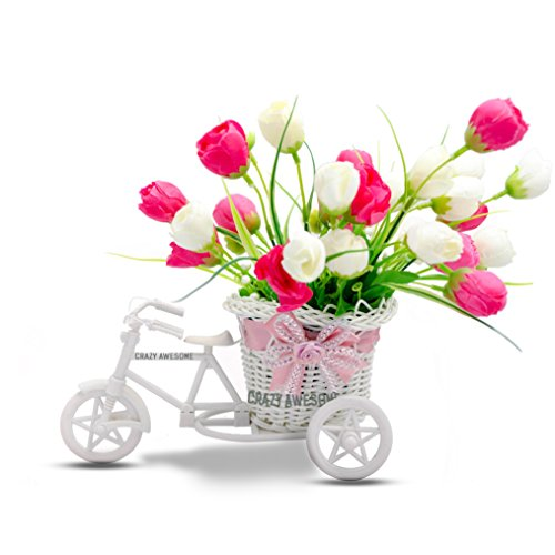 CrazyAwesomeDeal-Decoration Artificial Flowers for Living Room- Cycle Shape Vase with Big Flower Bunches Pink & White for any Decoration need-Premium Quality Stylish Cycle Shape or Rickshaw shape or tricycle Shape Flower Vase perfect for Living Room Decoration or for Dining Table Decoration  available at amazon for Rs.599