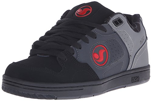 DVS Shoes - Discord, Scarpe da skateboard da uomo, Grigio (De Gry/Blk/Red Nubuck Deegan), 44.5 EU
