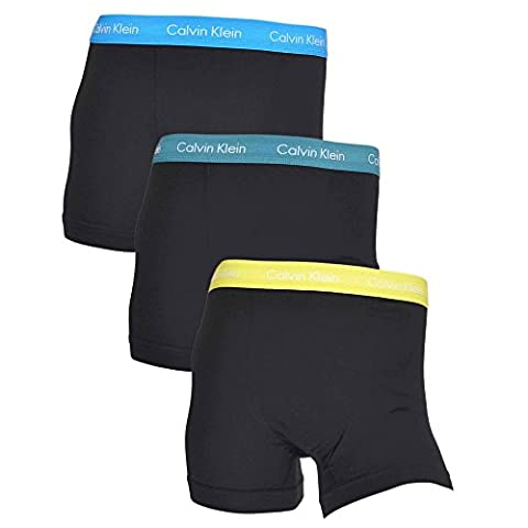 Calvin Klein Homme 3 Pack Cotton Stretch Trunks, Noir, Small