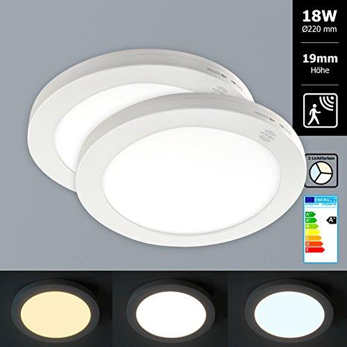 2x Xtend Mini Aufputz LED Panel mit Bewegungsmelder rund Ø220mm Lichtfarbe umschaltbar 3CCT warmweiß neutralweiß tageslicht 18W nur 1,9cm hoch Integriertes Netzteil Inkl. Montagematerial als Deckenleute oder Wandleuchte verwendbar