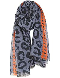 1a9cf3131f22 Femmes Foulard Châle Léopard Gland Coton Lin Couverture Bloc de Couleur  Foulards Foulards