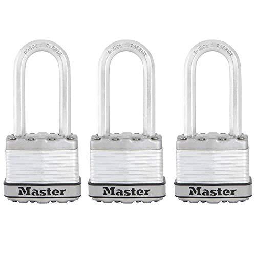 MASTER LOCK Candado Alta Seguridad [Llaves] [Acero Laminado] [Exterior] [Arco M] M1EURTRILH - Ideal...