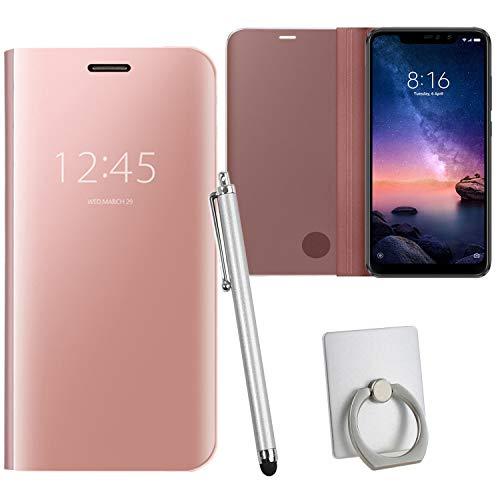 Guran® Mirror Efecto Espejo Funda para Xiaomi Redmi Note 6 Pro Clear View Función de Soporte Plegable Smartphone Funda Protectora (Oro Rosa)