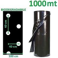 AGRIPLAST S.R.L. Telo PACCIAMANTE BIODEGRADABILE 1000 MT X 1 MT Forato Ogni 40 X 40 CM SFALSATO PACCIAMATURA BIO COMPOSTABILE