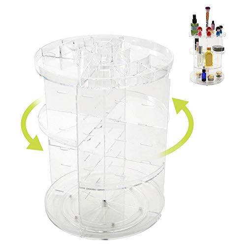 Semme 360 degrés de rotation organisateur de maquillage, affichage de cas de stockage de boîte de stockage de bijoux de boîte acrylique transparente de grande capacité, support de rotation