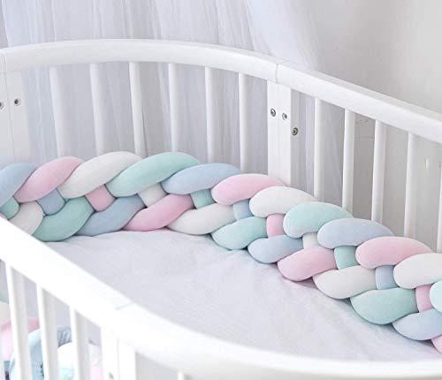 NSTART Bettumrandung Babybett 2 Meter Babybett Stoßstange Kissen Plüsch Knoten Kissen Baby Zimmer Dekoration Kopfschutz für Babybett (Rosa+weißes+blau+grün)