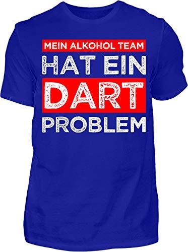 Kreisligahelden T-Shirt Herren Mein Alkohol Team hat EIN Dart Problem - Kurzarm Shirt Baumwolle mit Spruch Aufdruck - Hobby Freizeit Fun Dart Darts 180 (XL, Blau)