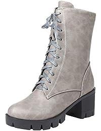161cb4af315ca8 HooH Damen Stiefeletten Boots Blockabsatz Glattleder Winter Mode Boots  Gefüttert Reißverschluss Schnürsenkel Schuhe