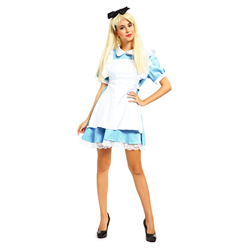 Karneval Fasching Kostuem Damenkostuem Alice im Wunderland Kostuem Fancy Dress Outfit Maid Cosplay Mottoparty (Fancy Dress Party Outfits)