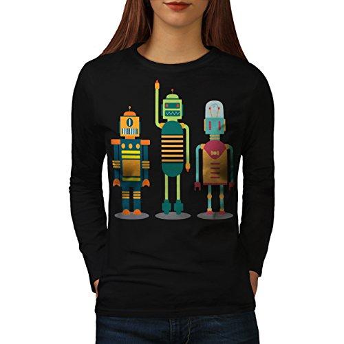 karikatur-roboter-party-kind-spa-damen-neu-schwarz-xxl-langarm-t-shirt-wellcoda